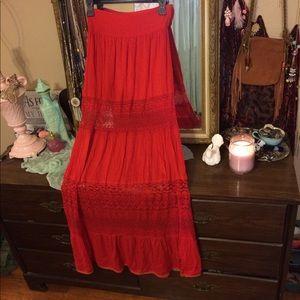 68adb1efc3 Free People Skirts - Free People Woodstock crochet inset maxi skirt